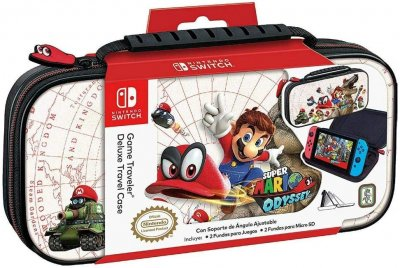 Officially Licensed Nintendo Switch Super Mario Odyssey Carrying Case - Protective Deluxe Hard Shell Case with Adjustable Viewing Stand - Game Case Included