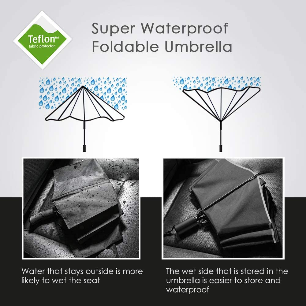 12 Ribs Inverted Umbrella Windproof Automatic Folding Umbrella Auto Reverse Umbrella Fiberglass Ribs